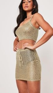 Missguided crochet bralet & skirt coordinates